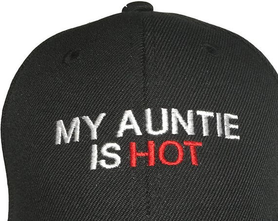 My Auntie is Hot (Youth Size Dad Cap Polo Style Ball Cap - Black with White Stitching)