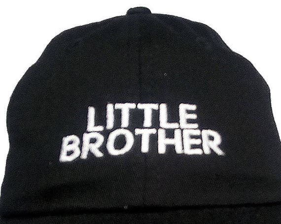 LITTLE BROTHER (Youth Dad Cap Polo Style Ball Cap - Black with White Stitching)