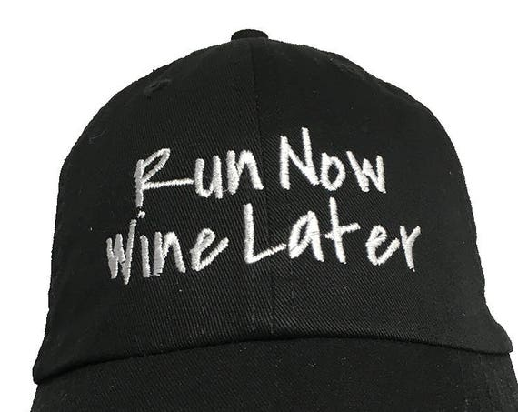 Run Now Wine Later - Polo Style Ball Cap (Black)