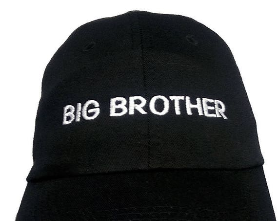 BIG BROTHER (Youth Dad Cap Polo Style Ball Cap - Black with White Stitching)