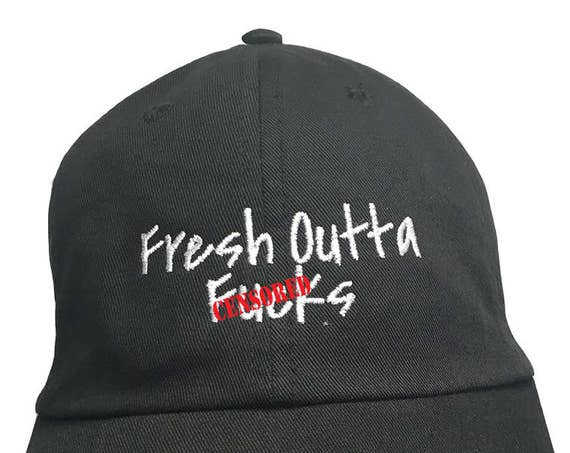 Adults Only - Fresh Outta F%#ks - Polo Style Ball Cap (Black with White Stitching)