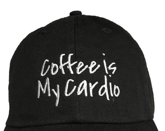 Coffee Is My Cardio (Polo Style Ball Cap - Black)