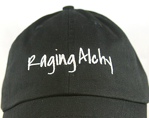 Raging Alchy - Polo Style Ball Cap (Black with White Stitching)
