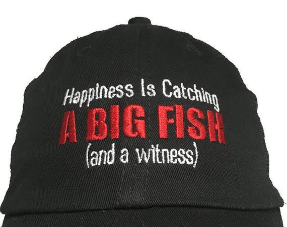 Happiness is Catching A Big Fish - Polo Style Ball Cap (Black)