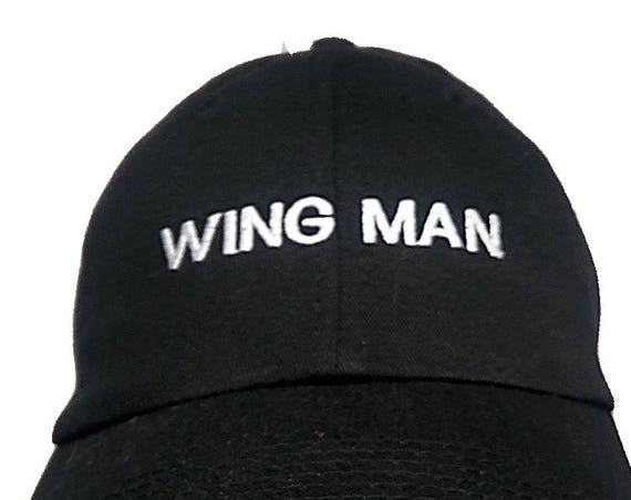 Wing Man  (Youth Dad Cap Polo Style Ball Cap - Black with White Stitching)