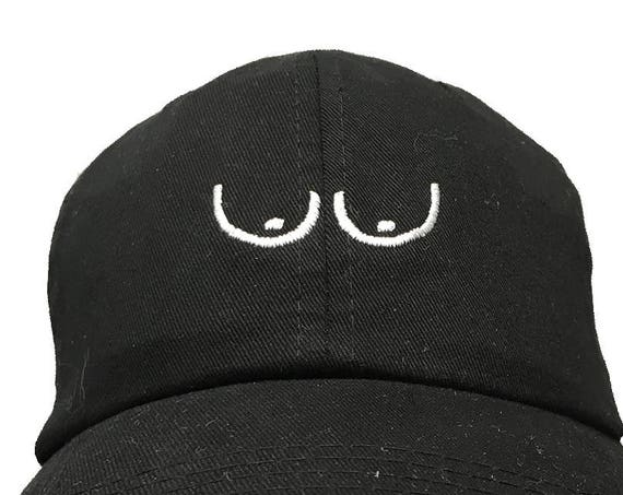 Boobies (Or Eyes- Or 2 Parenthesis & 2 periods) - Polo Style Ball Cap (Black with White Stitching)