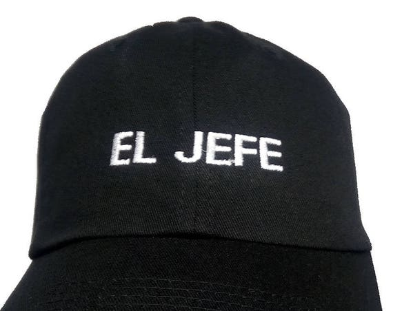 El Jefe (Youth Size Dad Cap Polo Style Ball Cap - Black with White Stitching)