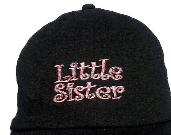 Little Sister (Youth Dad Cap Polo Style Ball Cap - Black with Pink Stitching)