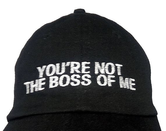 You're Not The Boss Of Me (Youth Dad Cap Polo Style Ball Cap - Black with White Stitching)