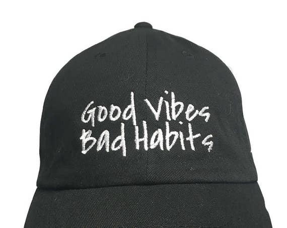 Good Vibes Bad Habits - Polo Style Ball Cap (Black with White Stitching)
