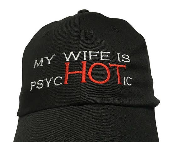My Wife is PhycHOTic - Polo Style Ball Cap (Black with White Stitching)
