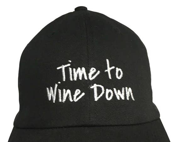 Time to Wine Down - Polo Style Ball Cap (Black with White Stitching)