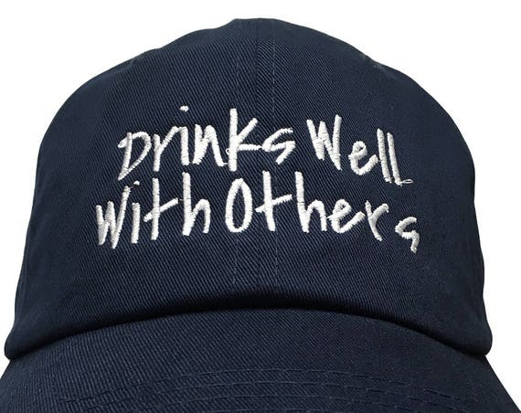 Drinks Well With Others - Polo Style Dad Cap (Various Colors with White Stitching)