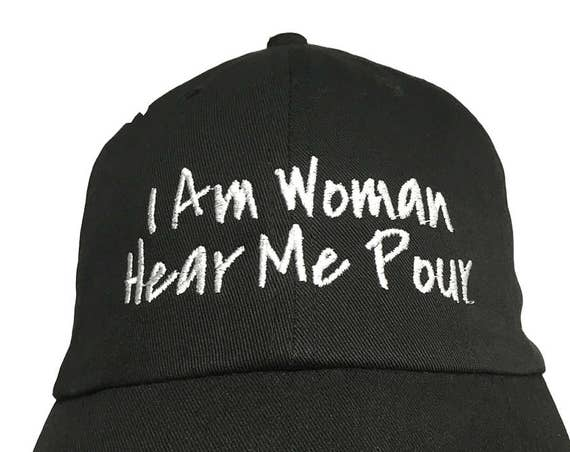 I Am Woman Hear Me Pour - Polo Style Ball Cap (Black with White Stitching)