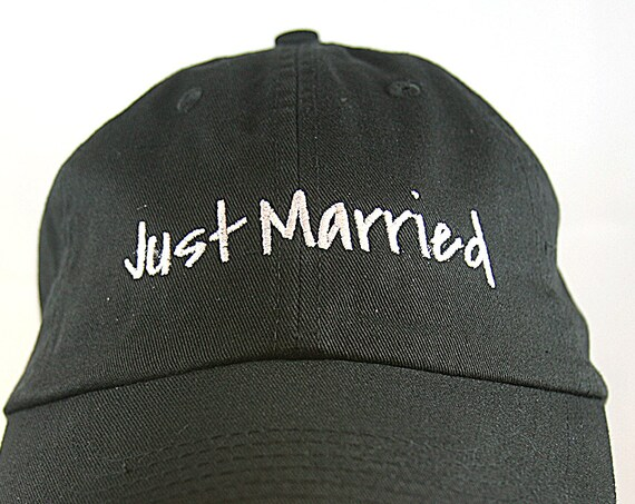 Just Married - Ball Cap (Black with White Stitching)