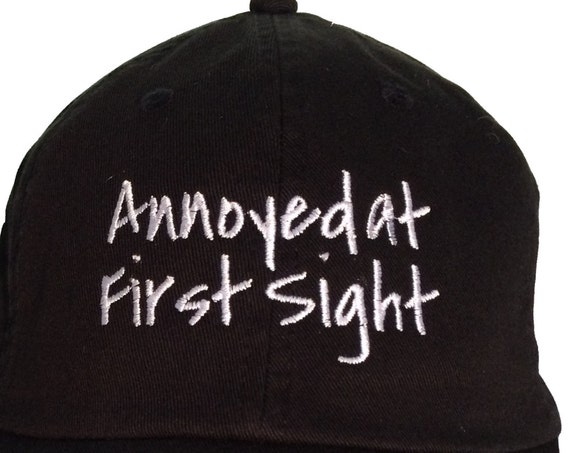 Annoyed at First Sight - Polo Style Ball Cap (Black with White Stitching)