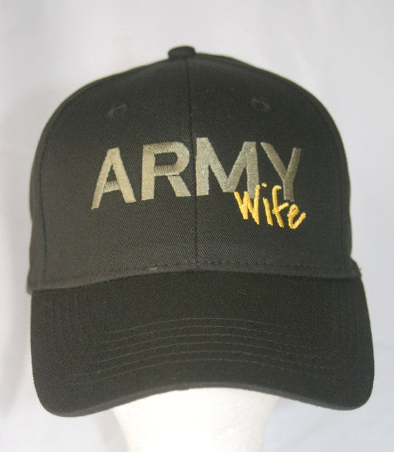 Army Wife or Army Dad or Army Mom - Polo Style Ball Cap (Black with Army Green and Gold Stitching)