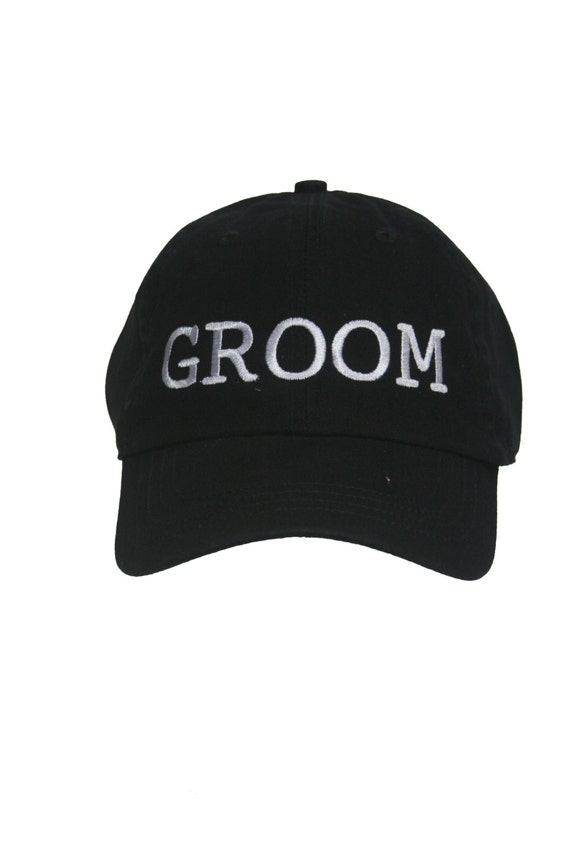 GROOM - Ball Cap (Black with White Stitching)