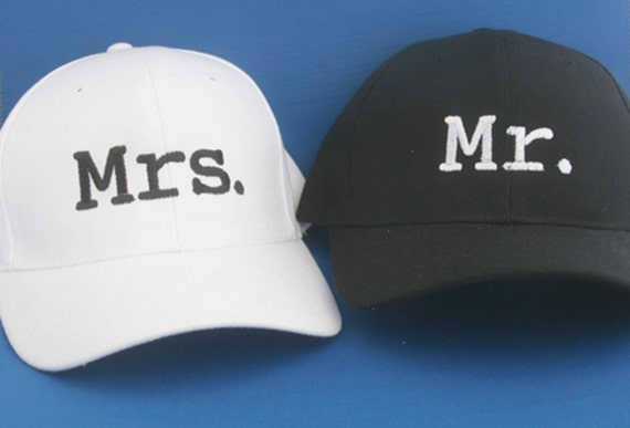 Set of Ball Caps Mr and Mrs. - Ball Cap (Black with White Stitching and White with Black Stitching)