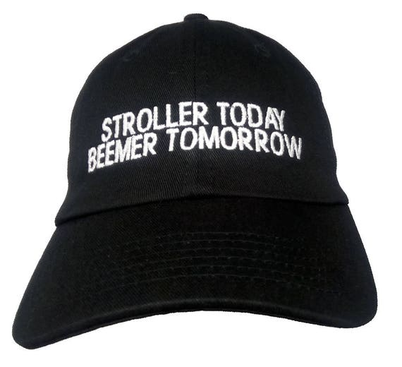 Stroller Today Beemer Tomorrow  (Youth Dad Cap Polo Style Ball Cap - Black with White Stitching)