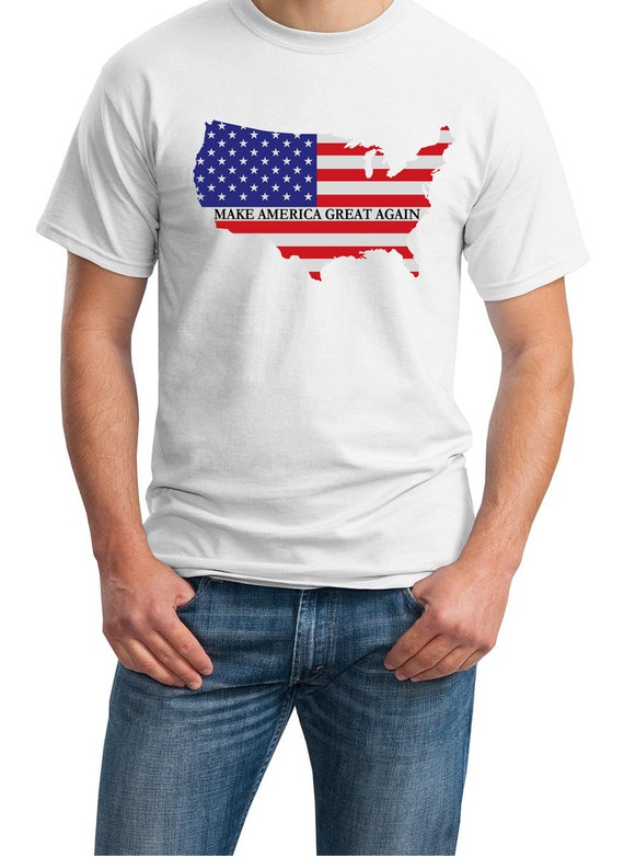 Make America Great Again Mens White T-shirt (with the US / Flag)