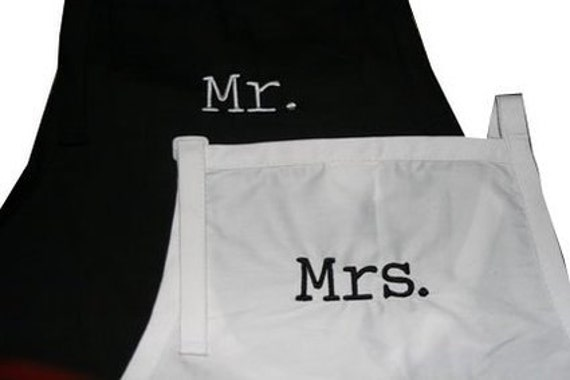 Mr & Mrs. (Adult Aprons for the Bridal Couple)