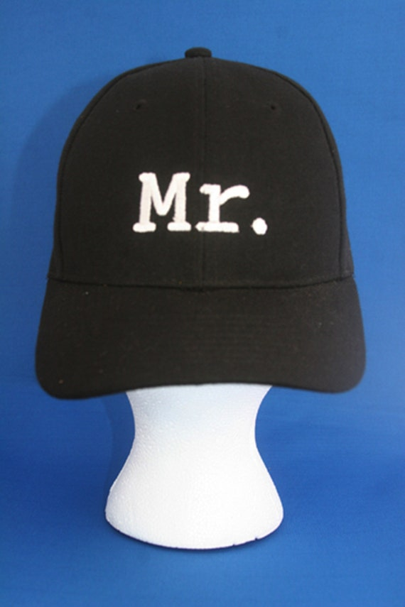 Mr. for the Groom - Ball Cap (Black with White Stitching)