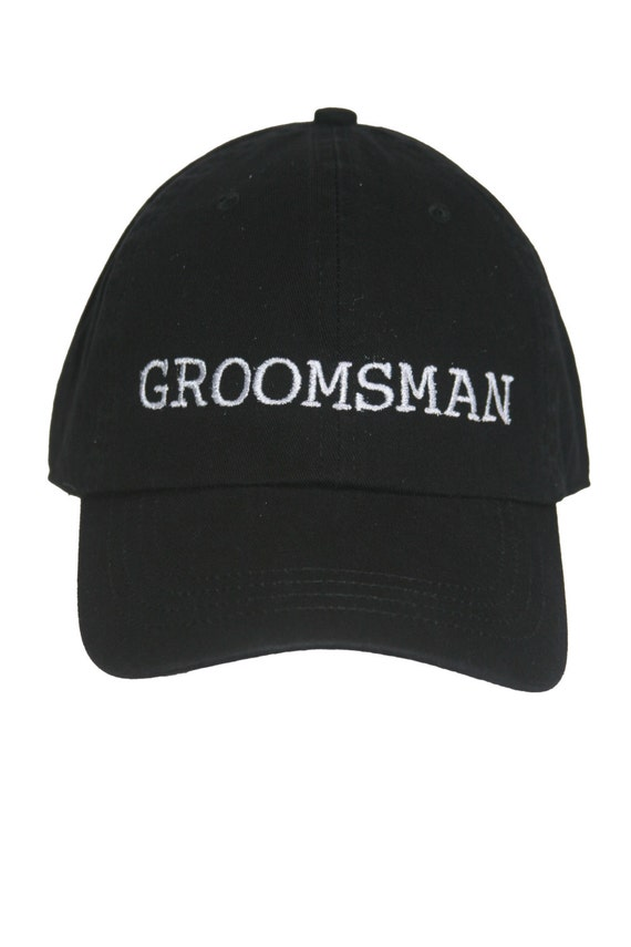Groomsman - Ball Cap (Black with White Stitching)
