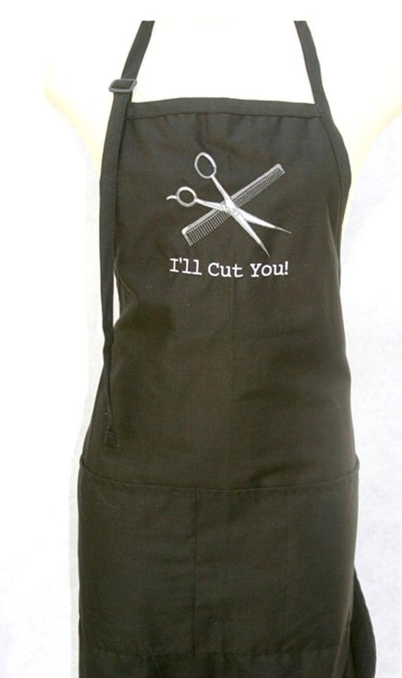 I'll Cut You! with scissors and comb (Adult Apron)