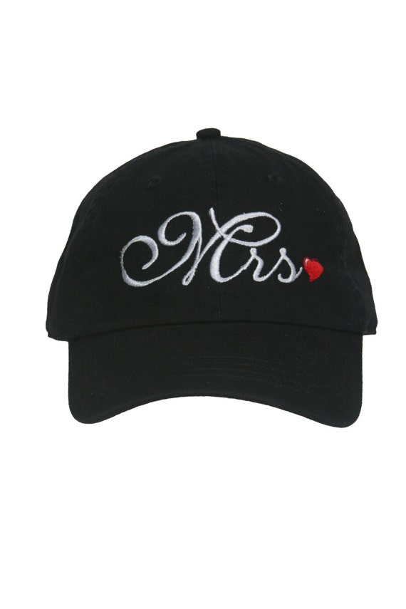 Set of Ball Caps Mr and Mrs. - Script  - Ball Cap (Black with White Stitching and Red heart)