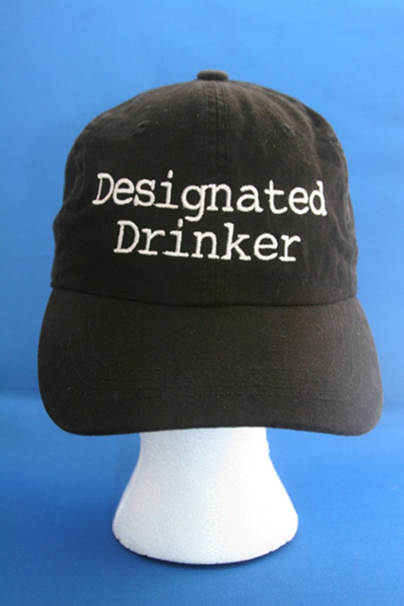 Designated Drinker - Ball Cap (Black with White Stitching)