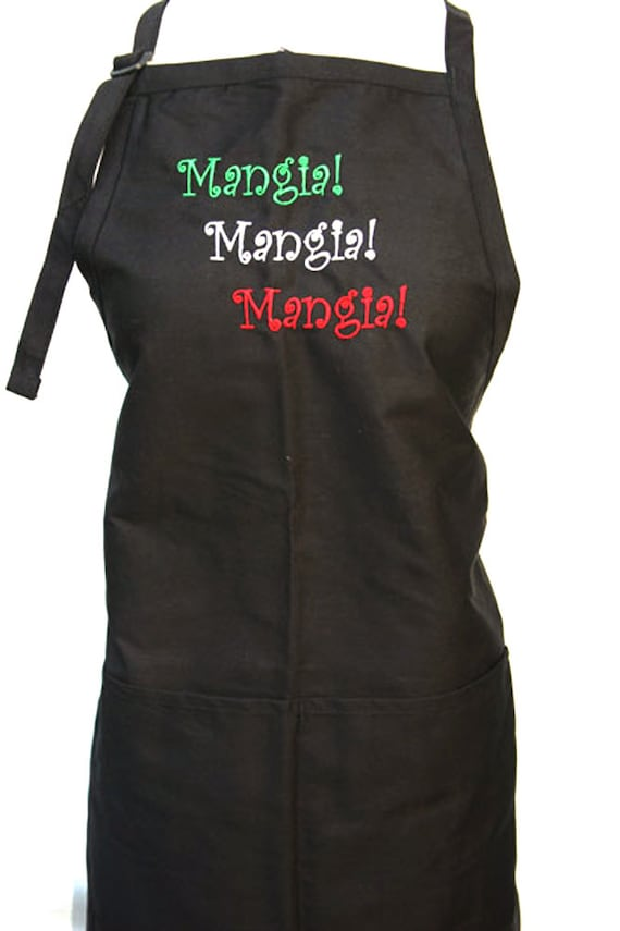 Mangia Mangia Mangia - 3 color stitching GWR (Adult Apron)