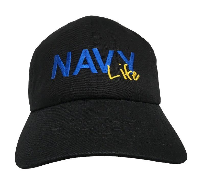 da34d597e8d NAVY Wife or Dad Mom Brat Life Polo Style Ball Cap Black