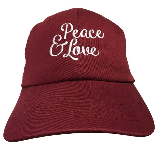 Peace & Love (Polo Style Ball Cap - Various Colors with White Stitching)