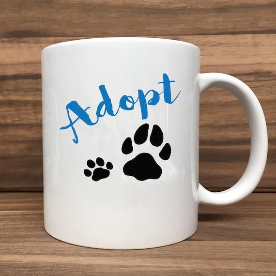 Coffee Mug - Adopt with Paws - Double Sided Printing 11 oz Mug