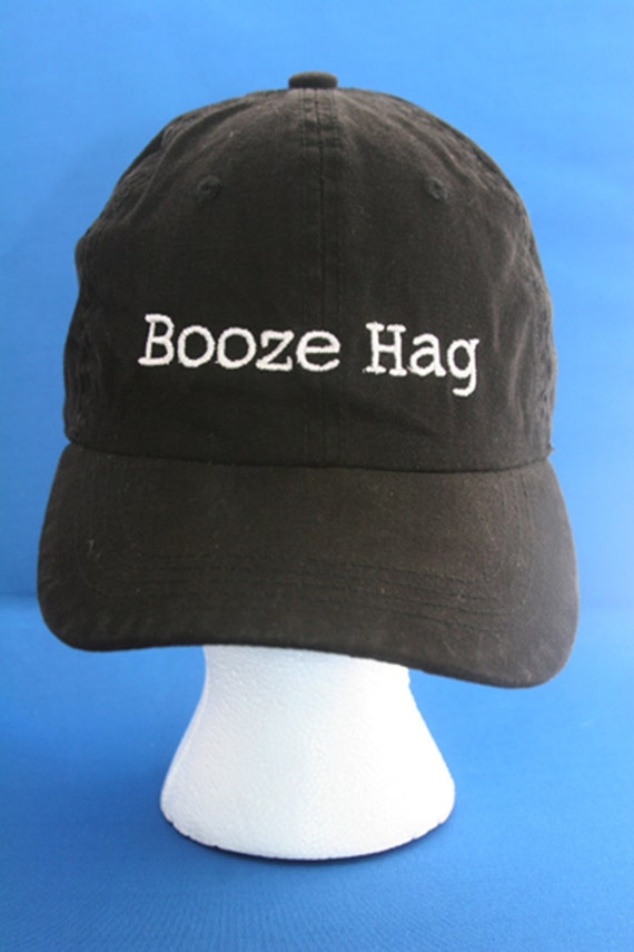 Booze Hag - Ball Cap (Black with White Stitching)