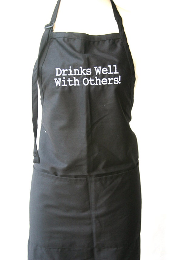 Drinks well with others. (Adult Apron)