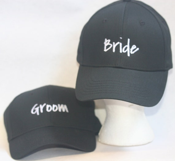 Bride and Groom Set of Hats (2) New Style - Ball Cap (Black with White Stitching)