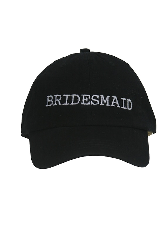 Bridesmaid - Ball Cap (Black with White Stitching)