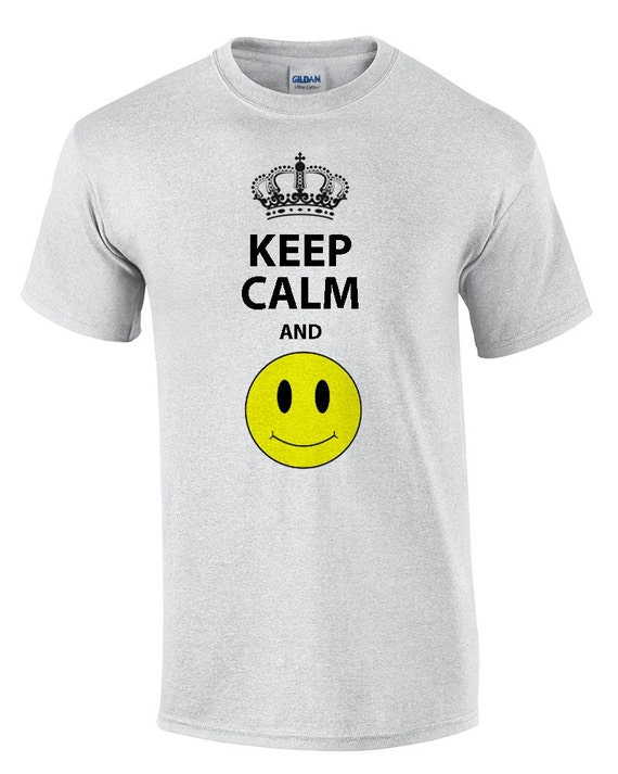 Keep Calm and Smile (with smiley Face) (T-Shirt)