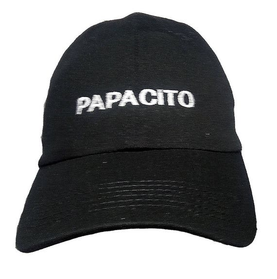 Papacito (Youth Size Dad Cap Polo Style Ball Cap - Black with White Stitching)