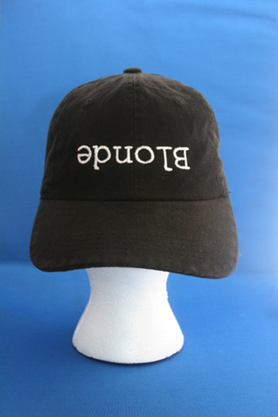 Blonde (upside down) - Ball Cap (Black with White Stitching)