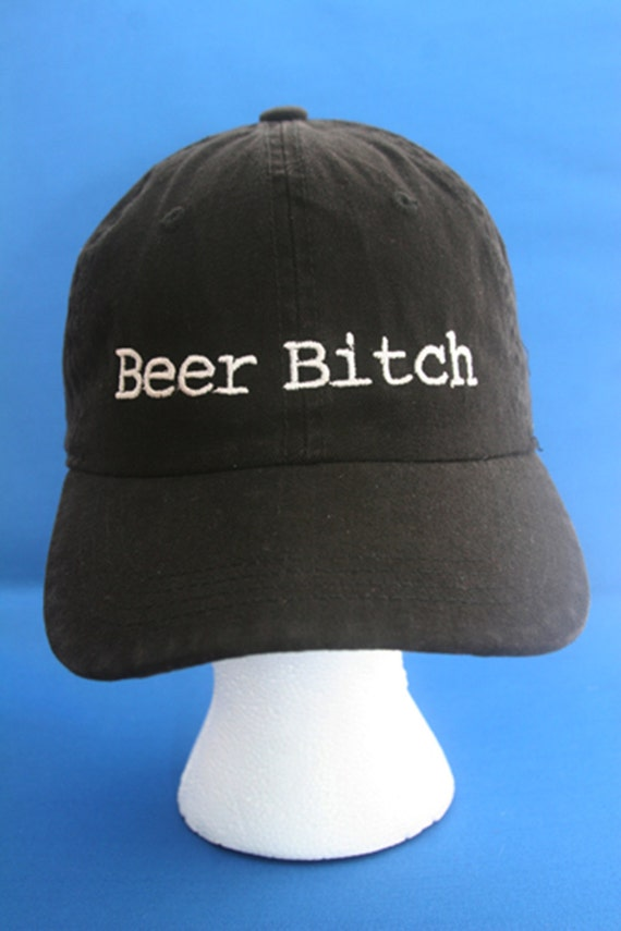 Beer Bitch - Ball Cap (Black with White Stitching)