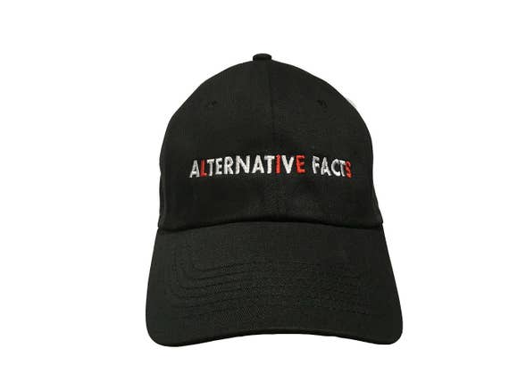 Alternative Facts (Lies) - Ball Cap Black with red and white stitching