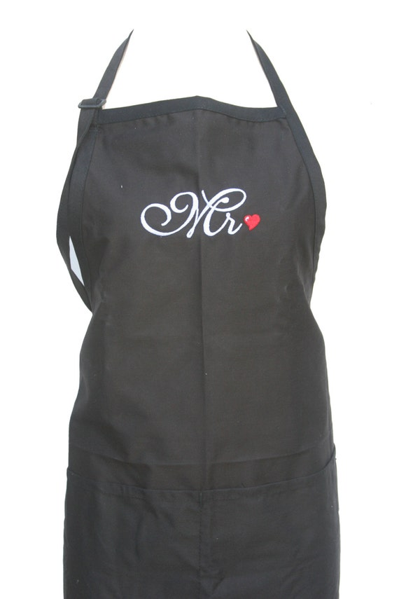 Mr & Mr. Set of Aprons for a couple of guys in Script with Heart (Adult Aprons for the Bridal Couple)