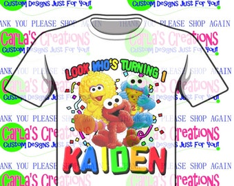 Sesame Street Elmo, Cookie Monster, Big Bird Inspired Birthday tee