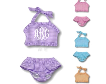 dc038b18af Embroidered Girls Monogram Swimsuit - Monogrammed toddler girl bathing suit  - girls seersucker swimsuit - girls two piece gingham swim suit