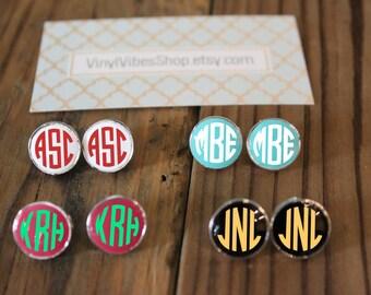 Monogram earrings, monogram gift, bridesmaid gift, graduation gift, personalized earrings, gift, monogram, earrings, monogram stud earrings