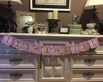Flamingo Banner, It's A Girl Banner, Flamingo Baby Shower Banner, It's A Girl, Pink, White & Gold Baby Shower Banner