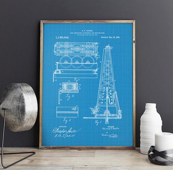 Oil Drilling Rig Patent, Train Patent, Drilling Machine, Texas Art, Oil U0026  Gas Patent, Office Decor, Patent Poster   DA0698